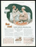 1927 Bon Ami cleanser powder mother and daughter art vintage print ad