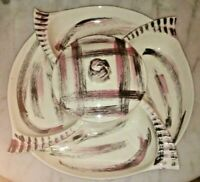 Mid Century California Pottery Lazy Susan Turntable Chip Dip Pink Black White