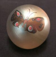 1981 Orient & Flume Signed Paperweight with Butterfly on Iridescent Glass, 3