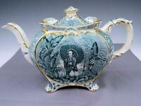 Antique Staffordshire Green Transfer Teapot With Japanese Geisha Girl Ca 1830