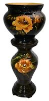 Weller Pottery Dickens Ware Large Yellow Rose Jardiniere And Pedestal