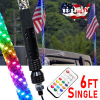 6ft LED RGB Dancing Whip Lights with Remote Control FOR ATV UTV RZR 4WD