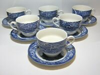 6 Staffordshire England Liberty Blue Tea Cups & Saucers Old North Church