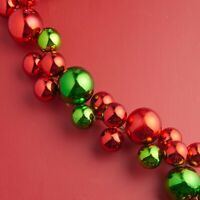 RAZ Imports~4' Green & Red Ball Garland~Wreath/Tree/Christmas/Bulb/Spray Decor