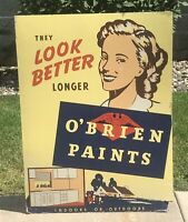 Vtg O'Brien Paints Sign Store Display Advertising Stand Thick Cardboard 39x29