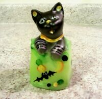 Halloween, Fenton Glass Handpainted Cat in Trick Or Treat Bag, new with box