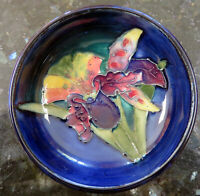 Moorcroft Pottery ORCHID on Cobalt Blue Small Footed Bowl 1940s-1950s, 7.94 cm