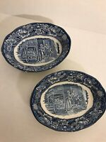 2 Liberty Blue Oval Serving Bowls Minute Men Staffordshire England 70's