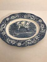 "Liberty Blue Platter 12"" Governors House Williamsburg Nice!"