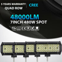 4X 7Inch 480W Cree Led Work Light Bar SPOT Beam Offroad for Jeep Truck ATV 6