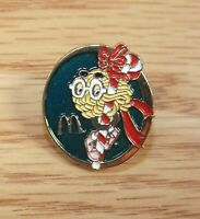 McDonald's Yellow Fry Guy on Candy Cane Christmas Collectible Pin / Hat Lapel