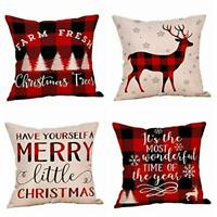 4 Pack Farmhouse Christmas Red Black Buffalo Plaids Throw Pillow Case Have Yours