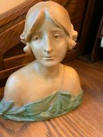 ANTIQUE VICTORIAN ERNST WAHLISS LADY PORCELAIN BUST FIGURINE AND FREE SHIPPING