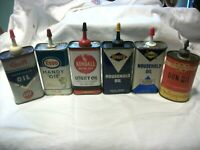 6 Vintage Handy Oiler Fluid Oil Can Lot Gas Kendall Sunoco Gulf Esso Winchester
