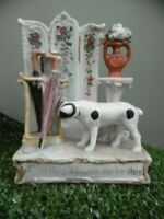 SUPERB 19thc STAFFORDSHIRE FAIRING JACK RUSSELL DOG & UMBRELLA STAND