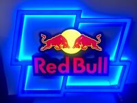 Red Bull Sign Light Lighted Energy Drink Bar Display Can Night Man Cave Led Free