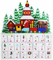 24 Day Advent Calendar Christmas Décor | Painted Characters | 100% Wood |
