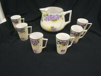 TE-Oh Nippon Lemonade Pitcher & 6 Cups Hand Painted Violets VGC