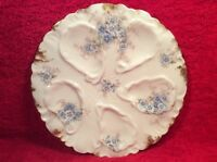 Oyster Plate Antique Limoges Blue Flowers & Gold Oyster Plate c1900