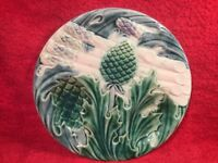 Antique French Majolica Plate with Asparagus & Artichoke c1800's