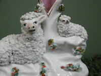 SUPERB 19thc STAFFORDSHIRE SPILL VASE FIGURE WITH SHEEP & LAMB C.1860's