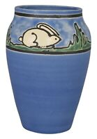 Door Pottery Saturday Evening Girl White Rabbits Blue Vase