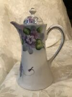 "Vintage Nippon Chocolate Pot Teapot Hand Painted 9.5"" Pitcher With Lid"