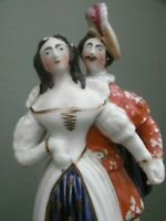 SUPERB 19thc STAFFORDSHIRE 17thc MALE IN DOUBLET & HOSE & FEMALE FIGURE C.1860