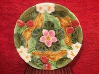 Majolica Plate French Majolica Cherries, Flowers, Green Leaves Plate