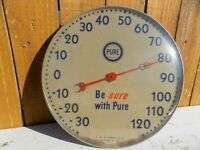 OLD RARE PURE OIL CO BE SURE WITH PURE SERVICE STATION THERMOMETER SIGN GRAPHICS