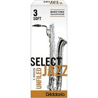 D'Addario Woodwinds Select Jazz Unfiled Baritone Sax Reeds Stngth 3 Soft Box of5