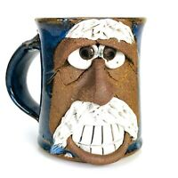 Handmade Art Pottery Funny Face Toothy Old Man Mustache Blue Glazed Mug Cup