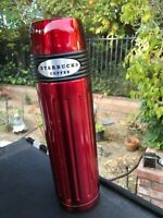 STARBUCKS ☆ Coffee Berry Red Slim Thermos Bottle ☆ 16 oz Bullet Stainless Steel