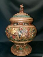 Vintage German Majolica Stonewear Pottery Gnome Beer Stein Punch Bowl Tureen