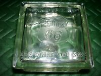 OLD 1940's  PHILLIPS 66 GLASS BLOCK  BANK ~ PHILL UP WITH 66  SEE WHAT YOU SAVE