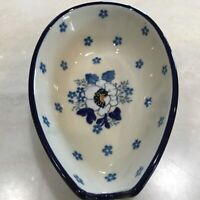 C.A. Polish Pottery Spoon Rest White Poppy NEW