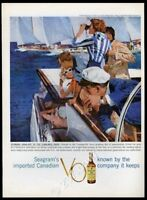 1959 Transpac Transpacific Yacht Race art Seagram's VO Canadian whisky print ad