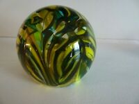 Vintage Pulled Feather Art Glass Paperweight Yellow