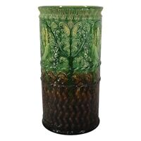 Weller Pottery Blended Decorative Green And Brown Umbrella Stand