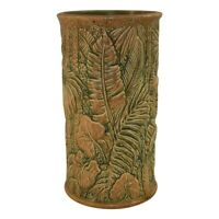 Weller Pottery Marvo Green And Orange Art Deco Umbrella Stand