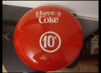 VINTAGE LIGHTED COCA COLA SIGN, Have A Coke 10 Cents, 1960s, 18 Inch Diameter