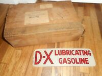 Vintage NOS DX Lubricating Motor Fuel Gas Station Advertising Pump Ad Glass Sign