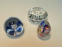 LOT OF 3 CRYSTAL PAPERWEIGHTS WATERFORD GES AND UNMARKED FLORAL