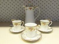 Nippon Blue Rising Sun Hand Painted Chocolate Pot 5 Cups & Saucers Rose Urn 1911