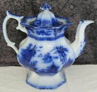 Antique Staffordshire Flow Blue Ning Po Ironstone Coffee Pot or Teapot