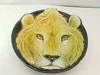 Fabulous Vintage Lion Face Head Art Pottery MAJOLICA Ceramic Bowl Italian SIGMA