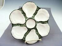 Antique Hand Painted Porcelain 6 Well Oyster Plate #1