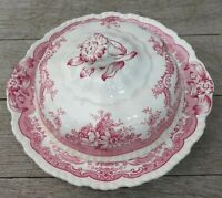 John Maddock England Red Transferware BOMBAY Round Covered Butter Dish