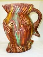 Large Vintage Pottery Majolica Style Fish Pitcher