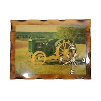 JOHN DEERE Model D Farm Tractor Wooden Shellac Hanging Wall Picture Clock Works